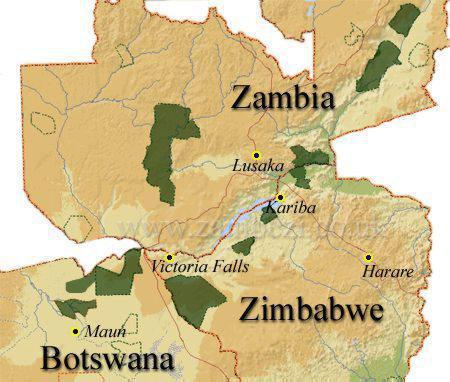 Zimbabwe-Zambia-map