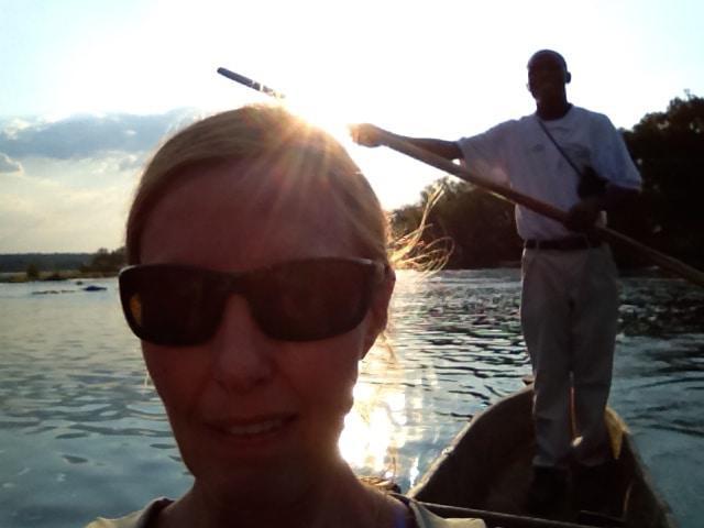 selfie on sunset mokoro ride on the Zambezi