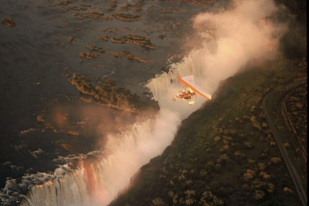 Microlight over Victoria Falls