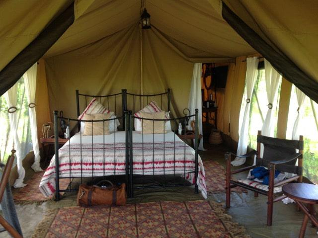 The Meru style tent interior of Kimondo camp creating a feeling of being part of all that is happening around you