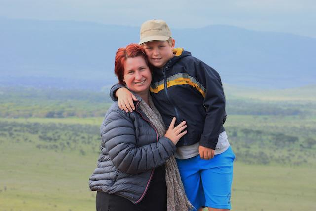 Liesl and her son Ben in the Lewa