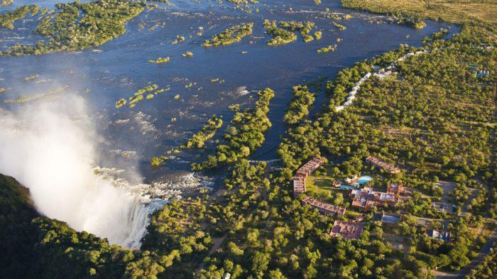 Aerial view of The Royal Livingstone and Victoria Falls