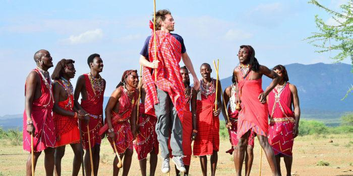Masai warriors with visitor