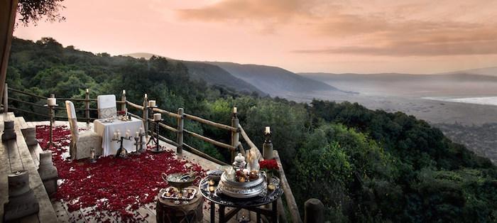 Ngorongoro-Crater-Lodge-romantic dinner