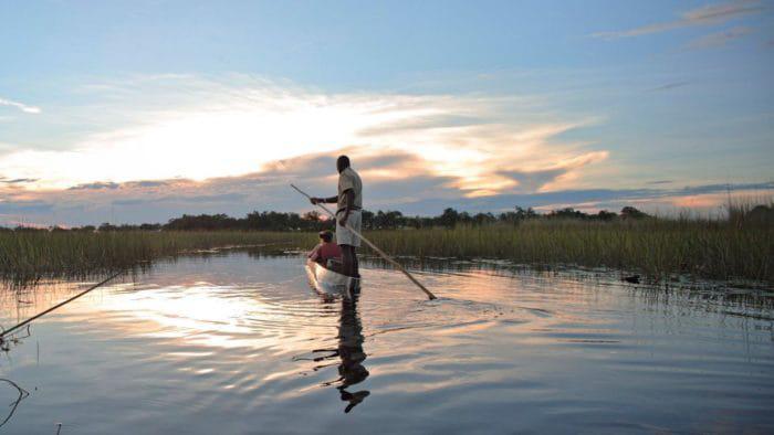 Gliding-in-a-traditional-mokoro-in-the-Okavango-Delta-Maun