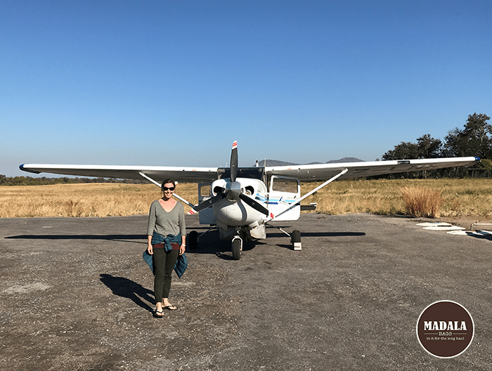 Vanessa Ratcliffe about to board a small plane from Kariba Airport in Zimbabwe.
