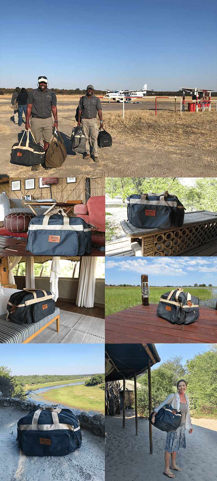 My very well-traveled Safari Bag - from top to bottom, and left to right: 1. A warm Wilderness Safaris welcome at Linkwasha in Hwange 2. Mapula Lodge 3. Hyena Pan 4. Sable Alley 5. Okavango Delta 6. Right in front of the tent where Harry and Meghan stayed at Meno A Kwena 7. Me, all packed and ready to say adieu to magical Meno A Kwena