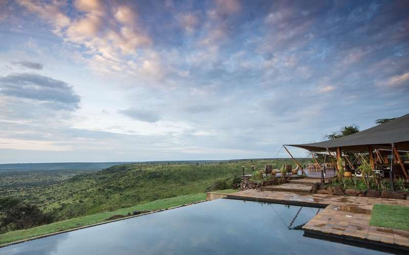 Infinity pool with views out over the Loisaba Conservancy