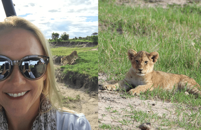 camille in the mara - with lions