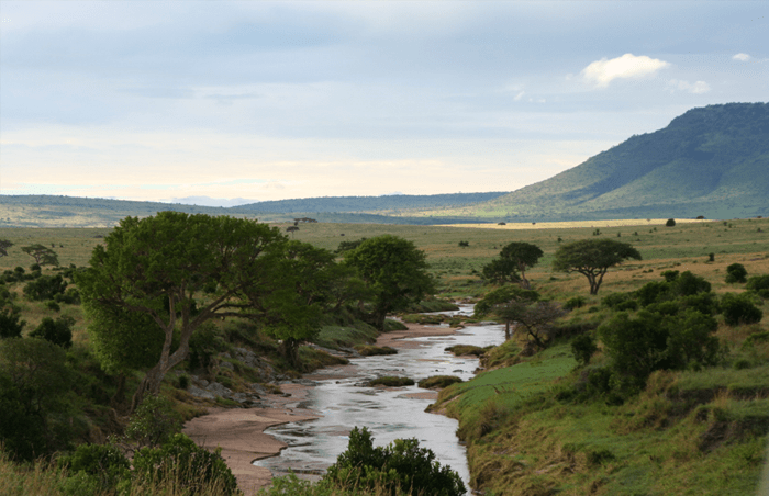 View of the Sand River from Elewana Sand River Camp in the Masai Mara in Kenya