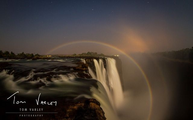 The best (and only) time to see the lunar rainbows at Vic Falls is between February and August when the water levels are at their highest. These ethereal rainbows appear at night when the moonlight refracts in the spray! (Credit: Tom Varley)