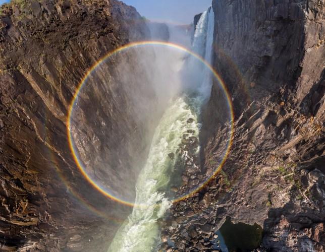 Full circle rainbow at Victoria Falls - Credit: Metro