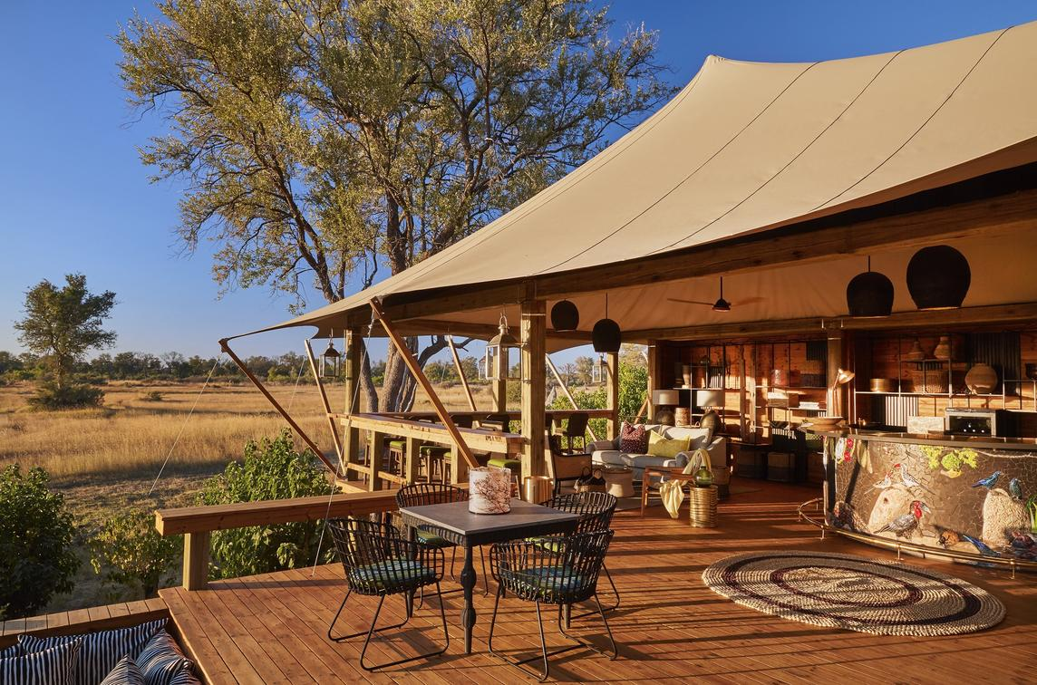 Main area's outside deck with view of floodplain - Tuludi Camp (African Safaris)