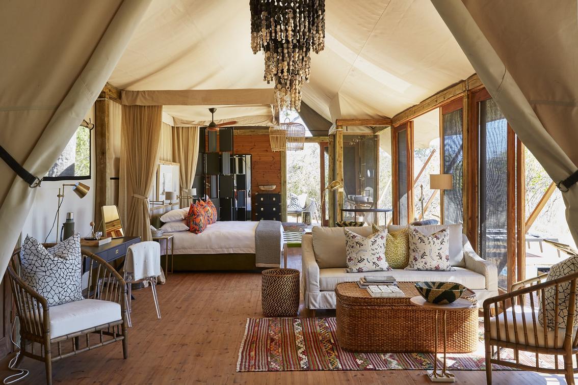 Family tent interior - Tuludi Camp, Khwai Private Reserve, Okavango Delta, Botswana - African Safaris