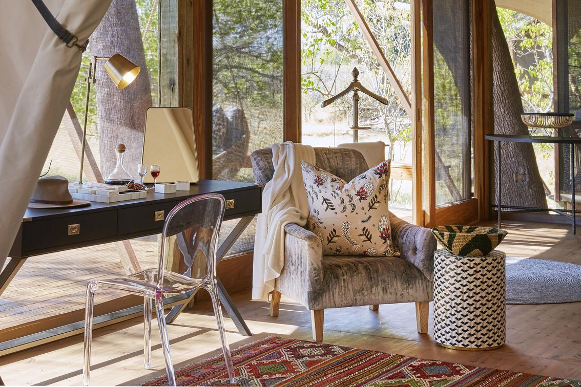 Elegantly modern interiors embroidered with old safari nostalgia - Tuludi Camp - African Safaris