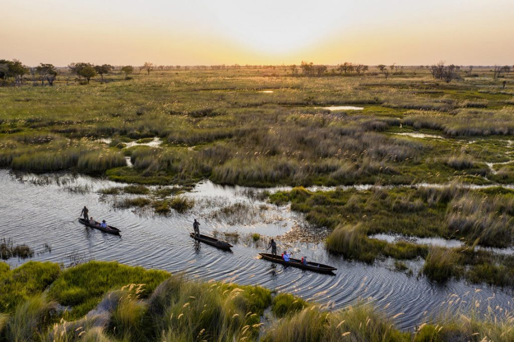 Exploring the Delta waterways in a mokoro at sunset at Tuludi