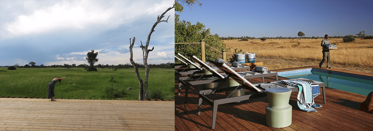 Tuludi Camp - then and now: swimming pool and deck