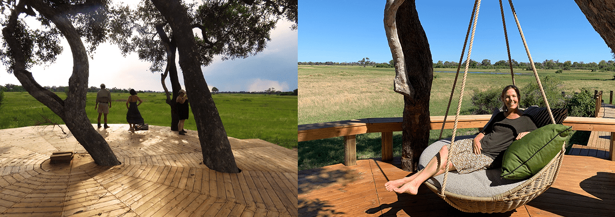 The communal deck area at Tuludi Camp: during construction and now